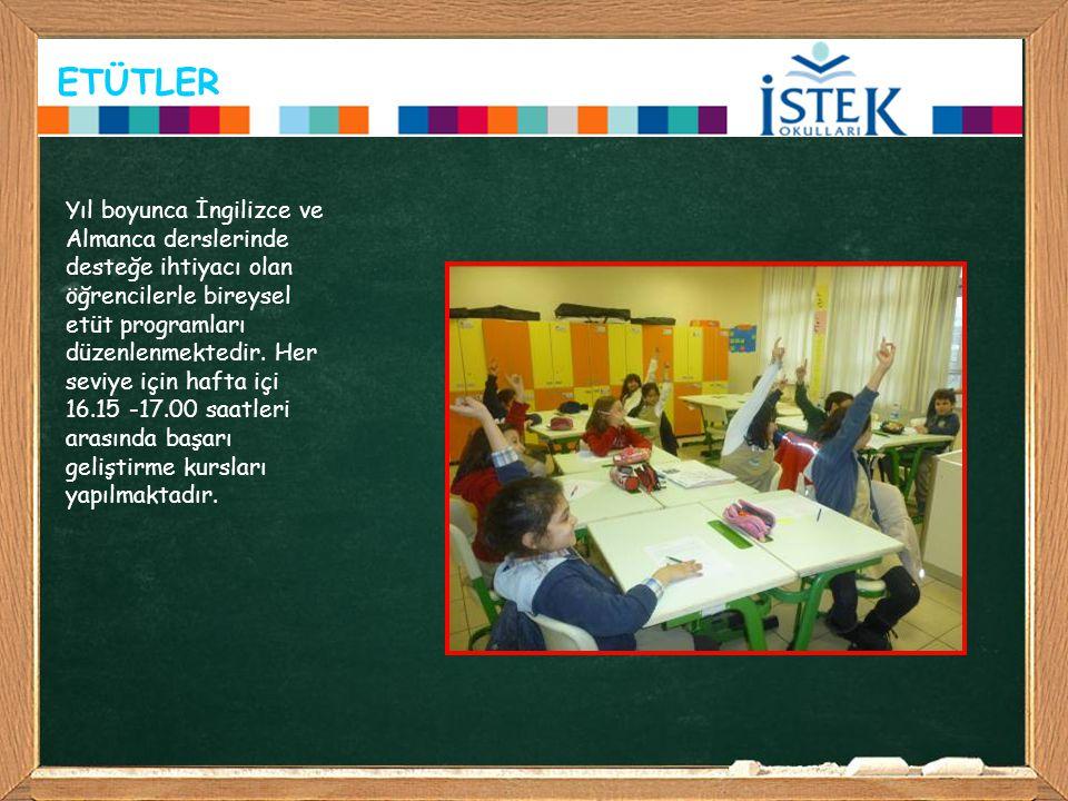 ETÜTLER Yıl boyunca İngilizce ve Almanca derslerinde desteğe ihtiyacı olan öğrencilerle bireysel etüt programları düzenlenmektedir. Her seviye için ha