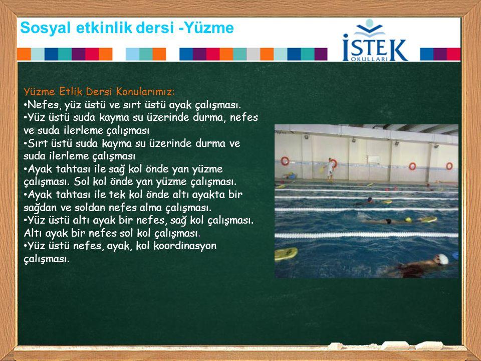 Sosyal etkinlik dersi -Yüzme Yüzme Etlik Dersi Konularımız: Nefes, yüz üstü ve sırt üstü ayak çalışması. Yüz üstü suda kayma su üzerinde durma, nefes