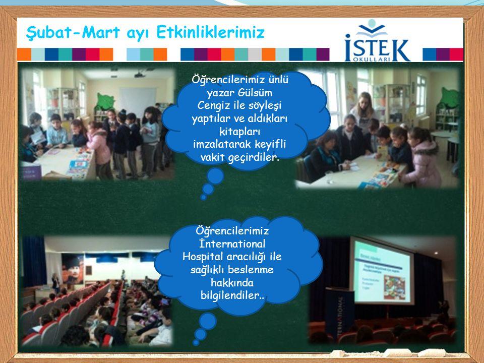 Şubat-Mart ayı Etkinliklerimiz Öğrencilerimiz ünlü yazar Gülsüm Cengiz ile söyleşi yaptılar ve aldıkları kitapları imzalatarak keyifli vakit geçirdile