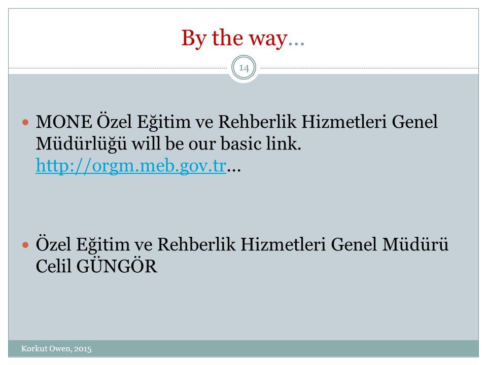 By the way… MONE Özel Eğitim ve Rehberlik Hizmetleri Genel Müdürlüğü will be our basic link. http://orgm.meb.gov.tr... http://orgm.meb.gov.tr Özel Eği