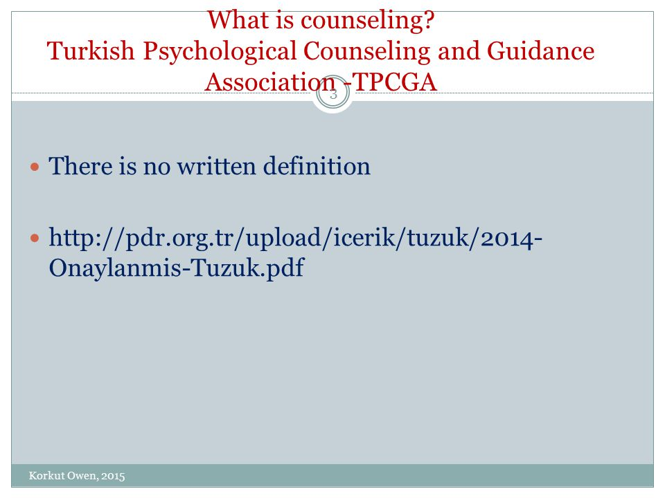 What is counseling.Ministery of National Education.MONE There is no written definition...