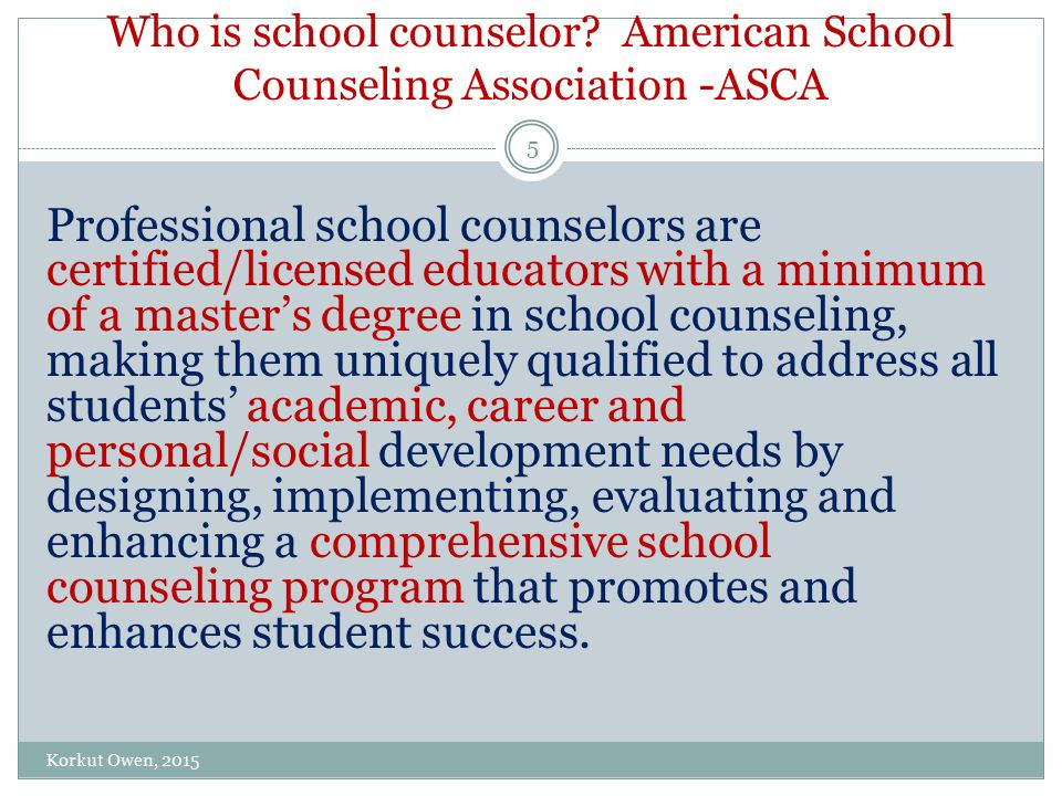 School counselors use data to show the impact of the school counseling program on student achievement, attendance and behavior and analyze school counseling program assessments to guide future action and improve future results for all students.