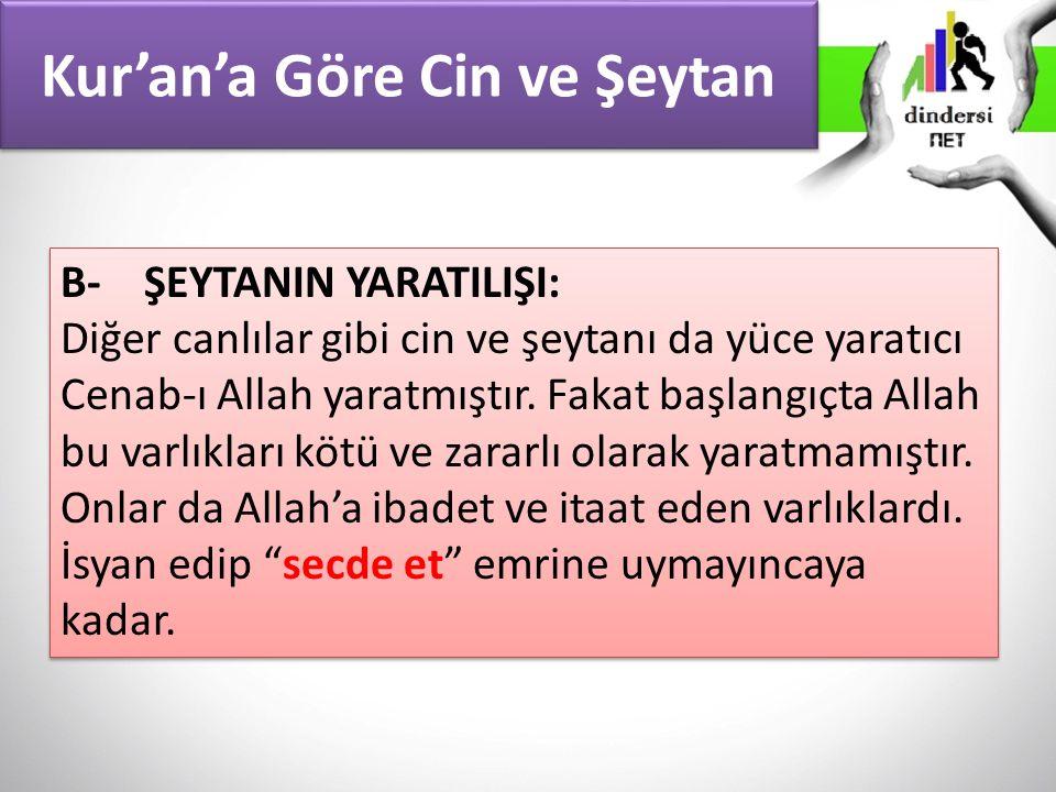 Kur'an'a Göre Cin ve Şeytan B- ŞEYTANIN YARATILIŞI: Diğer canlılar gibi cin ve şeytanı da yüce yaratıcı Cenab-ı Allah yaratmıştır. Fakat başlangıçta A