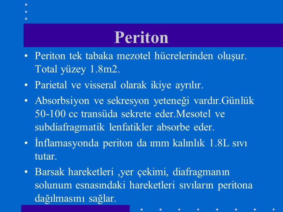 Periton Periton tek tabaka mezotel hücrelerinden oluşur. Total yüzey 1.8m2. Parietal ve visseral olarak ikiye ayrılır. Absorbsiyon ve sekresyon yetene