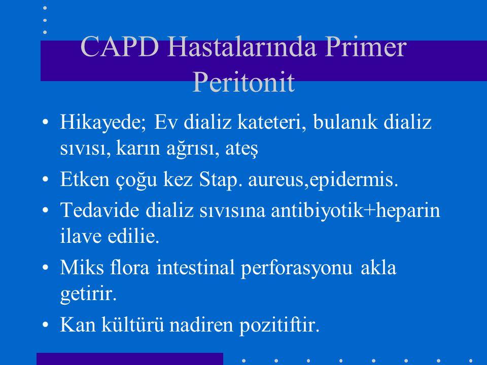 CAPD Hastalarında Primer Peritonit Hikayede; Ev dializ kateteri, bulanık dializ sıvısı, karın ağrısı, ateş Etken çoğu kez Stap. aureus,epidermis. Teda