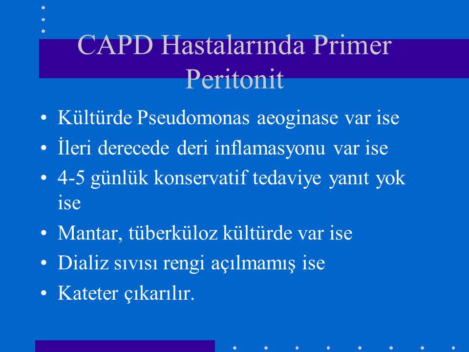 CAPD Hastalarında Primer Peritonit Kültürde Pseudomonas aeoginase var ise İleri derecede deri inflamasyonu var ise 4-5 günlük konservatif tedaviye yan