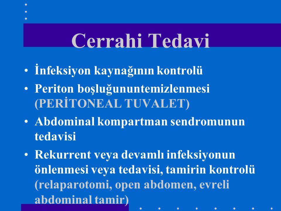 Cerrahi Tedavi İnfeksiyon kaynağının kontrolü Periton boşluğununtemizlenmesi (PERİTONEAL TUVALET) Abdominal kompartman sendromunun tedavisi Rekurrent
