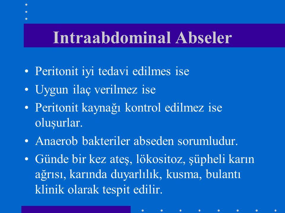 Intraabdominal Abseler Peritonit iyi tedavi edilmes ise Uygun ilaç verilmez ise Peritonit kaynağı kontrol edilmez ise oluşurlar. Anaerob bakteriler ab