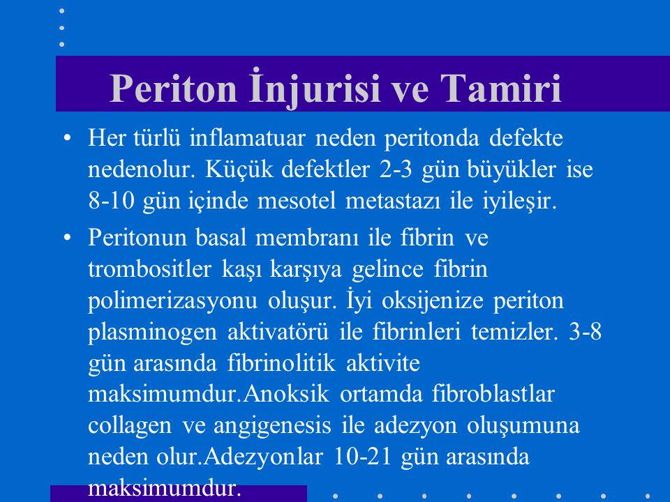 Periton İnjurisi ve Tamiri Her türlü inflamatuar neden peritonda defekte nedenolur. Küçük defektler 2-3 gün büyükler ise 8-10 gün içinde mesotel metas