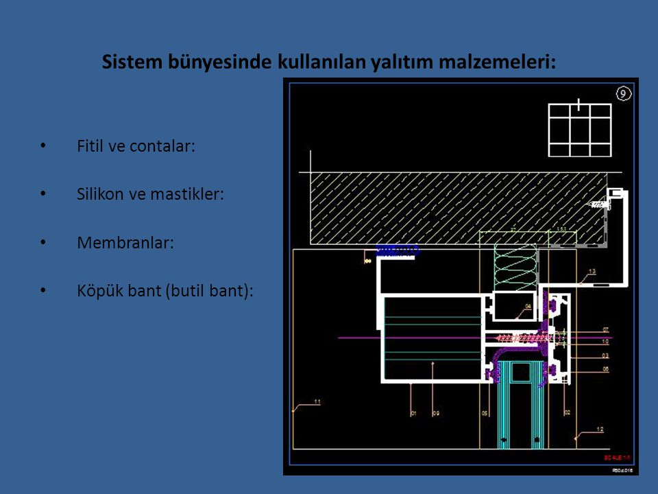 Sistem bünyesinde kullanılan yalıtım malzemeleri: Fitil ve contalar: Silikon ve mastikler: Membranlar: Köpük bant (butil bant):