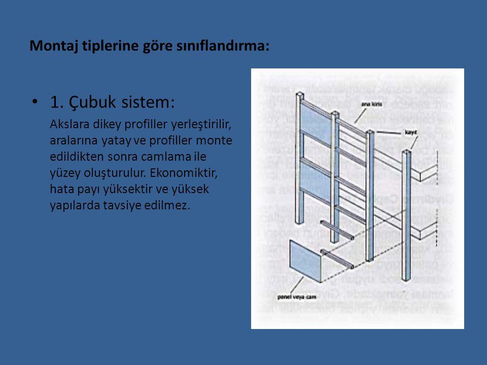 Montaj tiplerine göre sınıflandırma: 1. Çubuk sistem: Akslara dikey profiller yerleştirilir, aralarına yatay ve profiller monte edildikten sonra camla