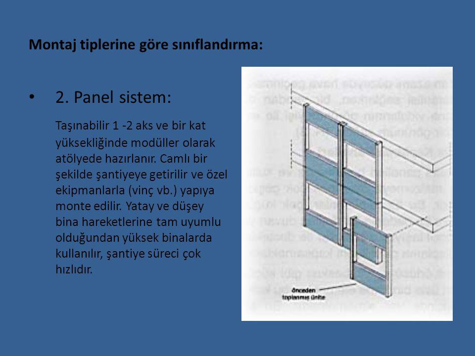 Montaj tiplerine göre sınıflandırma: 2. Panel sistem: Taşınabilir 1 -2 aks ve bir kat yüksekliğinde modüller olarak atölyede hazırlanır. Camlı bir şek