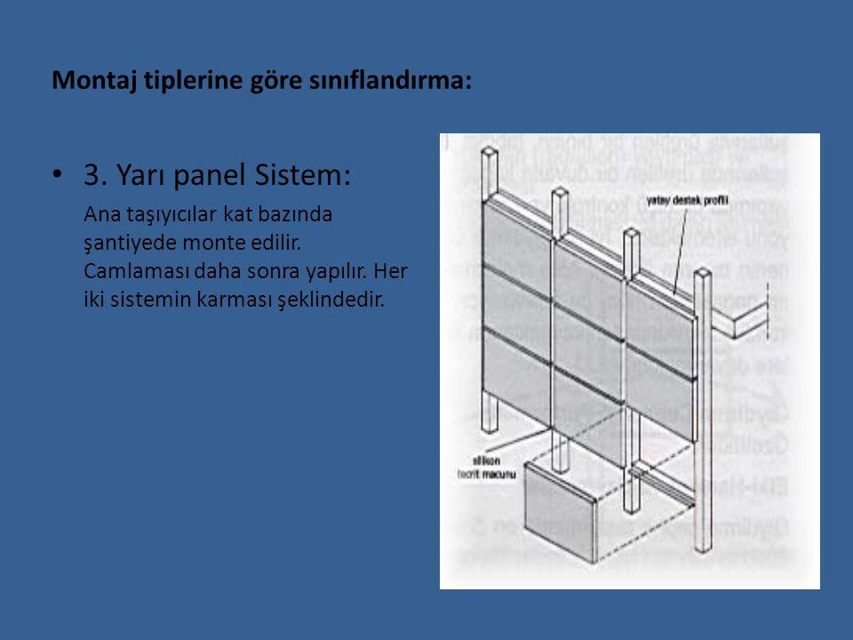 Montaj tiplerine göre sınıflandırma: 3. Yarı panel Sistem: Ana taşıyıcılar kat bazında şantiyede monte edilir. Camlaması daha sonra yapılır. Her iki s