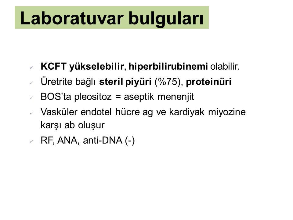 Laboratuvar bulguları KCFT yükselebilir, hiperbilirubinemi olabilir.  Üretrite bağlı steril piyüri (%75), proteinüri  BOS'ta pleositoz = aseptik men