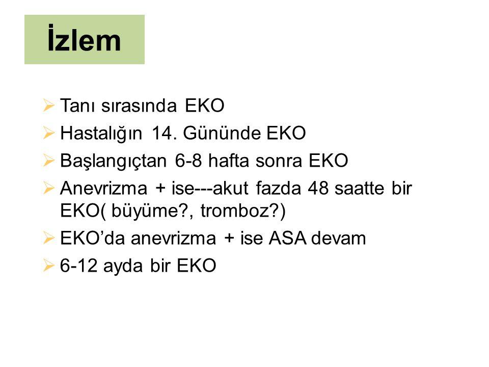 İzlem  Tanı sırasında EKO  Hastalığın 14. Gününde EKO  Başlangıçtan 6-8 hafta sonra EKO  Anevrizma + ise---akut fazda 48 saatte bir EKO( büyüme?,
