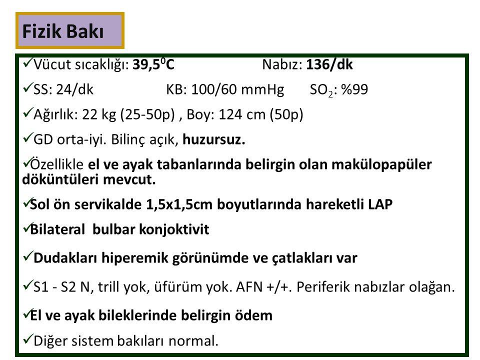 Laboratuar HemogramAFR BKH:13700/mm3CRP:38,5mg/dl MNS:11800/mm3Sedimentasyon:98mm/saat Hgb:9,6gr/dl Hct:%29 Koagülasyon Parametreleri MCV: 80 flPZ:15,4 sn RDW:%14,8INR:1,33 Trombosit:387000/mm3APTZ:31,9 sn TİT ve mikroskopisi: Normal