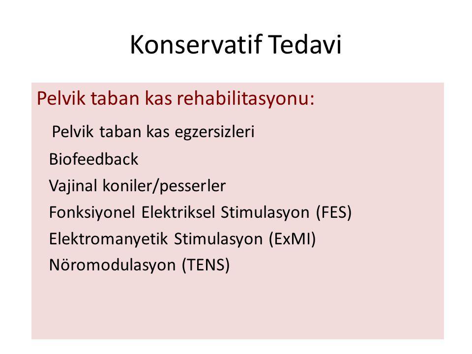 Konservatif Tedavi Pelvik taban kas rehabilitasyonu: Pelvik taban kas egzersizleri Biofeedback Vajinal koniler/pesserler Fonksiyonel Elektriksel Stimulasyon (FES) Elektromanyetik Stimulasyon (ExMI) Nöromodulasyon (TENS)