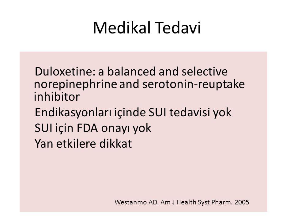 Medikal Tedavi Duloxetine: a balanced and selective norepinephrine and serotonin-reuptake inhibitor Endikasyonları içinde SUI tedavisi yok SUI için FDA onayı yok Yan etkilere dikkat Westanmo AD.