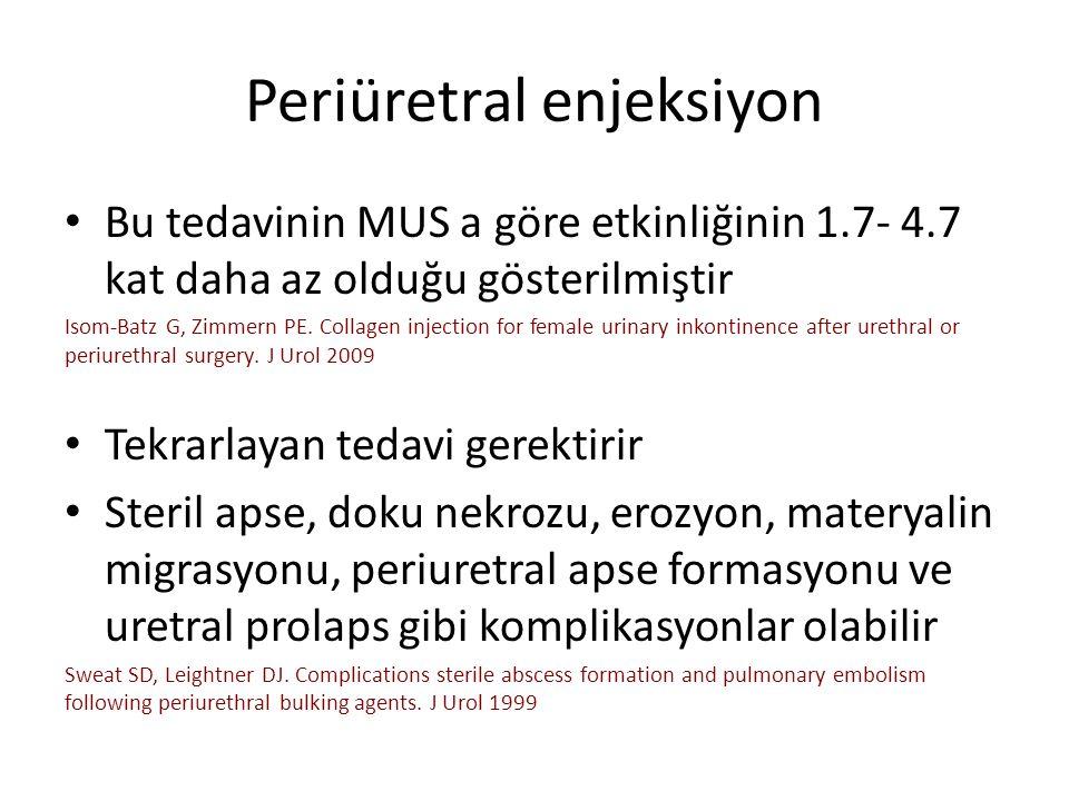 Periüretral enjeksiyon Bu tedavinin MUS a göre etkinliğinin 1.7- 4.7 kat daha az olduğu gösterilmiştir Isom-Batz G, Zimmern PE.
