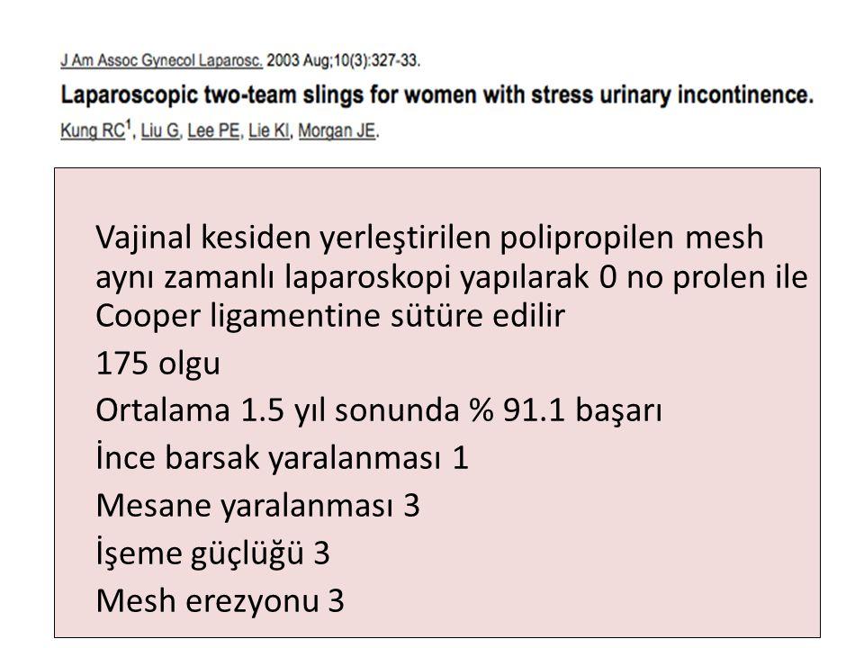 Vajinal kesiden yerleştirilen polipropilen mesh aynı zamanlı laparoskopi yapılarak 0 no prolen ile Cooper ligamentine sütüre edilir 175 olgu Ortalama 1.5 yıl sonunda % 91.1 başarı İnce barsak yaralanması 1 Mesane yaralanması 3 İşeme güçlüğü 3 Mesh erezyonu 3
