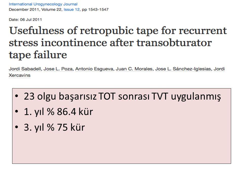 23 olgu başarısız TOT sonrası TVT uygulanmış 1. yıl % 86.4 kür 3. yıl % 75 kür