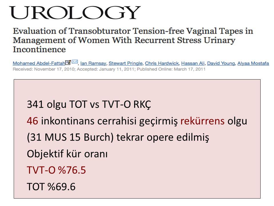 341 olgu TOT vs TVT-O RKÇ 46 inkontinans cerrahisi geçirmiş rekürrens olgu (31 MUS 15 Burch) tekrar opere edilmiş Objektif kür oranı TVT-O %76.5 TOT %69.6