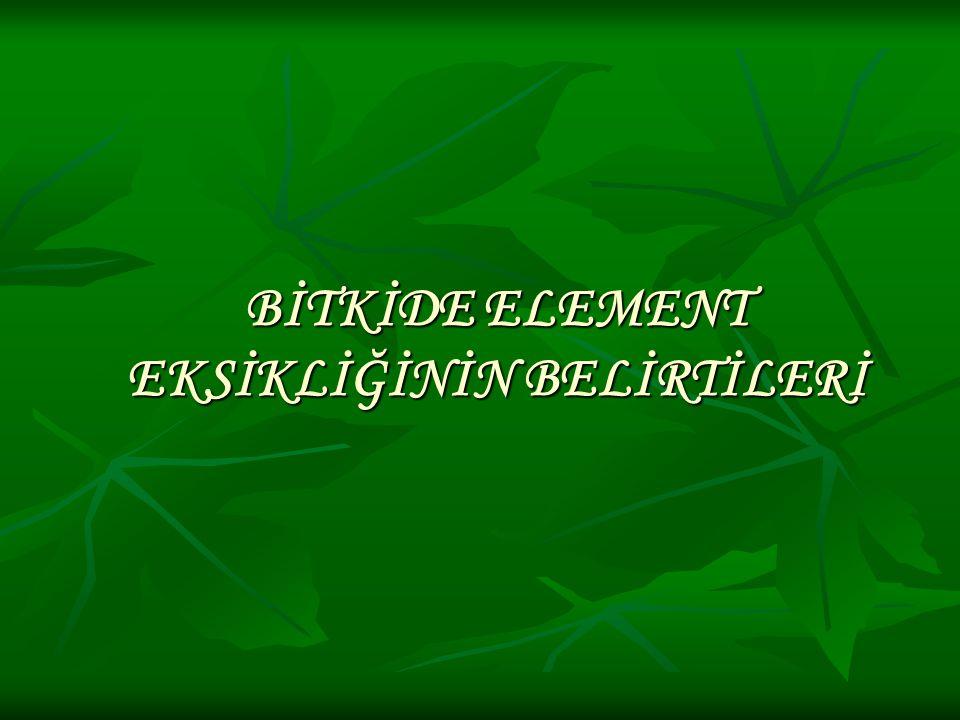 BİTKİDE ELEMENT EKSİKLİĞİNİN BELİRTİLERİ