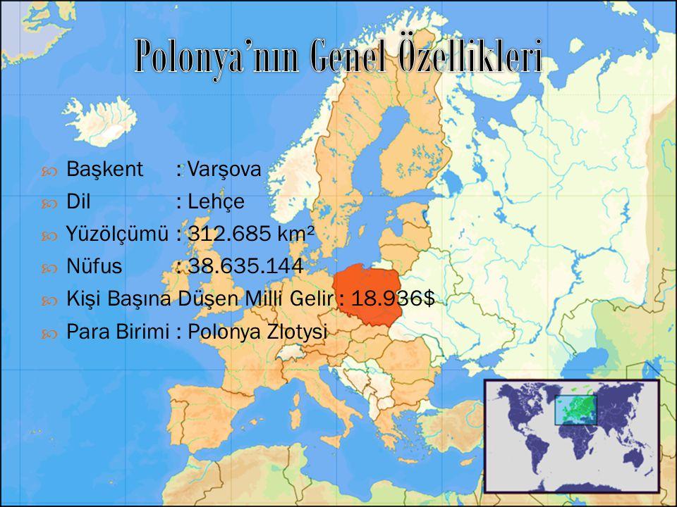  Başkent : Varşova  Dil: Lehçe  Yüzölçümü: 312.685 km²  Nüfus: 38.635.144  Kişi Başına Düşen Milli Gelir : 18.936$  Para Birimi: Polonya Zlotysi