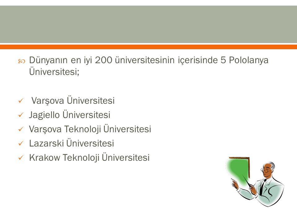  Dünyanın en iyi 200 üniversitesinin içerisinde 5 Pololanya Üniversitesi; Varşova Üniversitesi Jagiello Üniversitesi Varşova Teknoloji Üniversitesi L