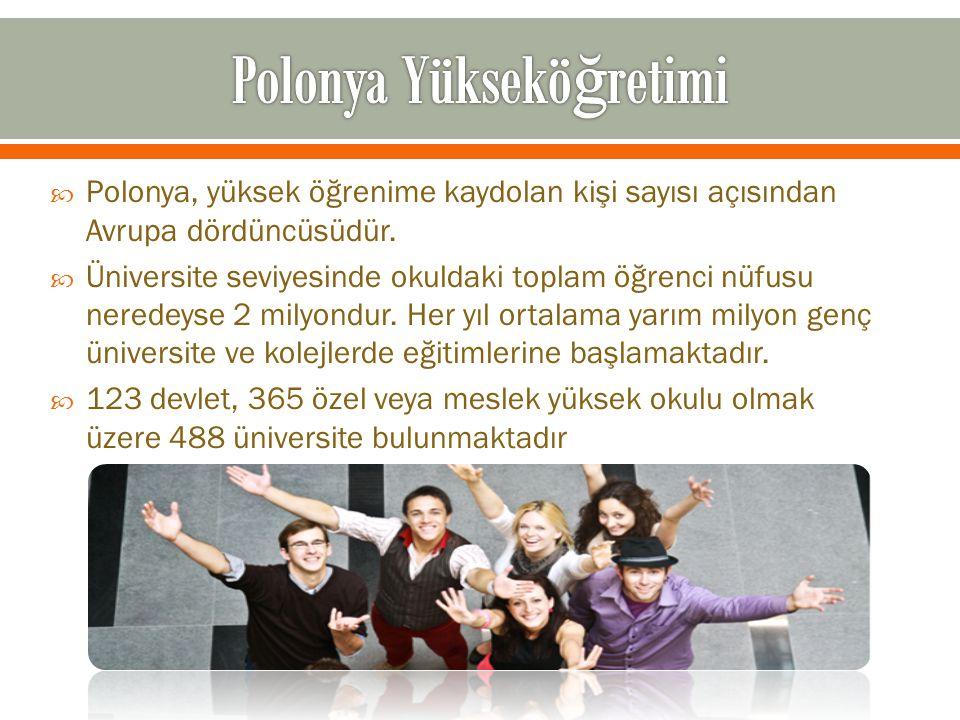  Polonya, yüksek öğrenime kaydolan kişi sayısı açısından Avrupa dördüncüsüdür.  Üniversite seviyesinde okuldaki toplam öğrenci nüfusu neredeyse 2 mi