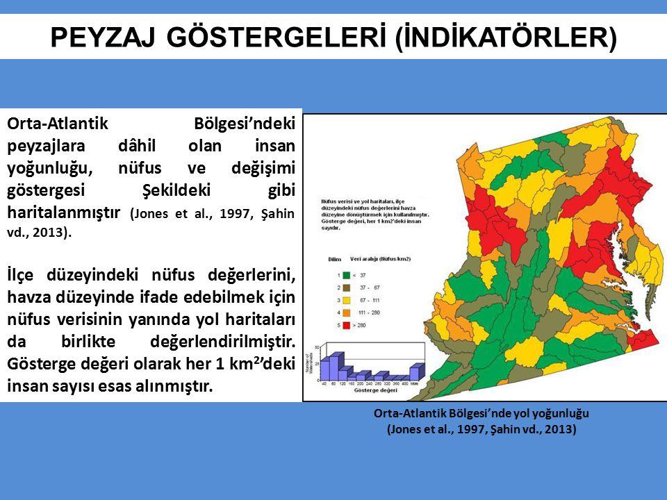 PEYZAJ GÖSTERGELERİ (İNDİKATÖRLER) Orta-Atlantik Bölgesi'ndeki peyzajlara dâhil olan insan yoğunluğu, nüfus ve değişimi göstergesi Şekildeki gibi hari