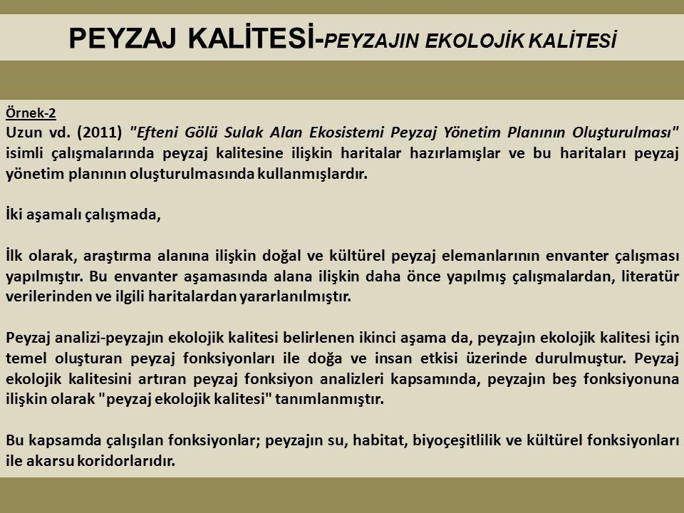 PEYZAJ KALİTESİ- PEYZAJIN EKOLOJİK KALİTESİ Örnek-2 Uzun vd. (2011)