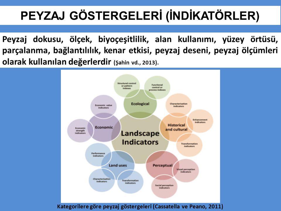 PEYZAJ GÖSTERGELERİ (İNDİKATÖRLER) Peyzaj dokusu, ölçek, biyoçeşitlilik, alan kullanımı, yüzey örtüsü, parçalanma, bağlantılılık, kenar etkisi, peyzaj