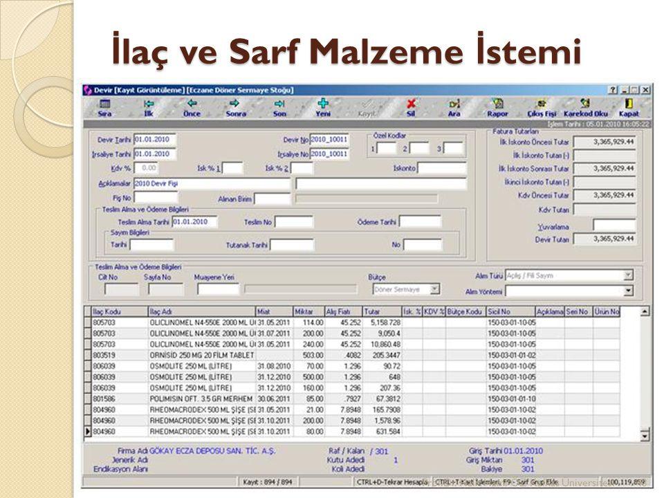 İ laç ve Sarf Malzeme İ stemi Prof.Dr. Halit Hami ÖZ Kafkas Üniversitesi43