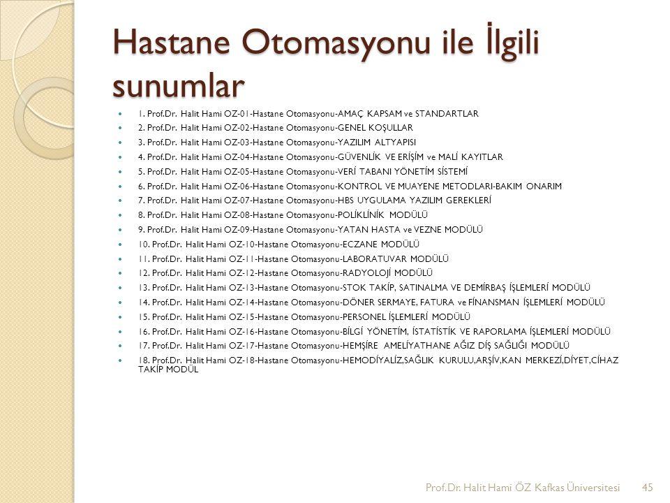 Hastane Otomasyonu ile İ lgili sunumlar 1. Prof.Dr. Halit Hami OZ-01-Hastane Otomasyonu-AMAÇ KAPSAM ve STANDARTLAR 2. Prof.Dr. Halit Hami OZ-02-Hastan