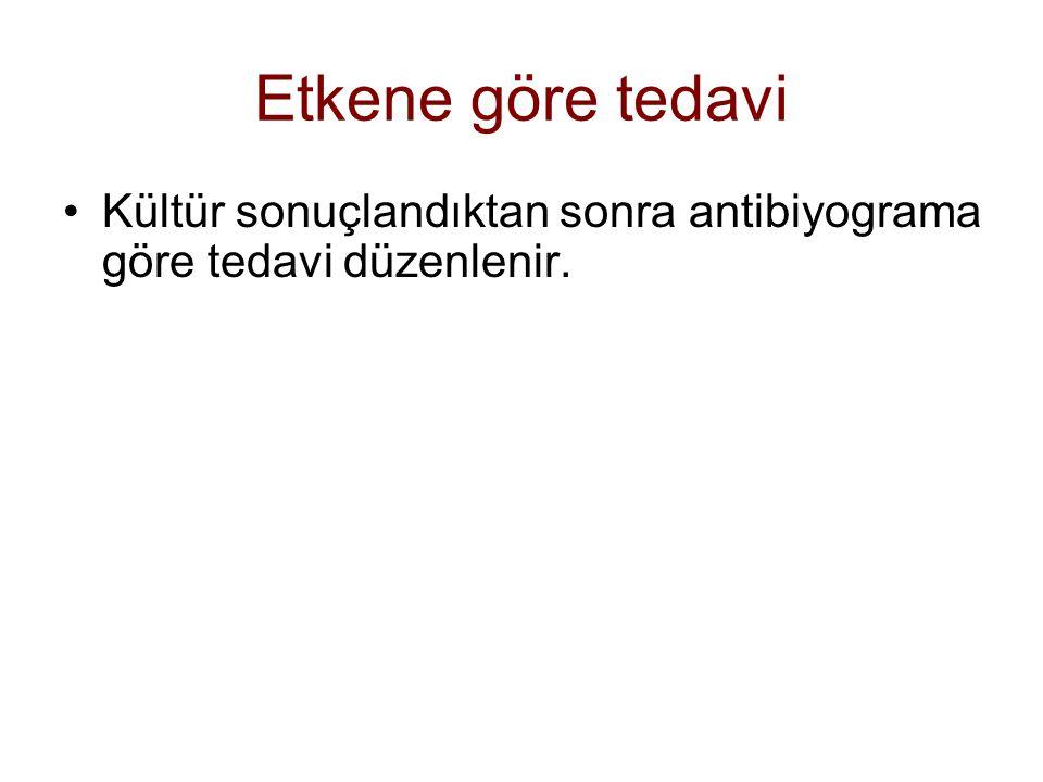 Etkene göre tedavi Kültür sonuçlandıktan sonra antibiyograma göre tedavi düzenlenir.