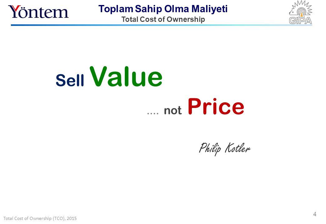 Total Cost of Ownership (TCO), 2015 Toplam Sahip Olma Maliyeti Total Cost of Ownership 4 Sell Value.... not Price Philip Kotler
