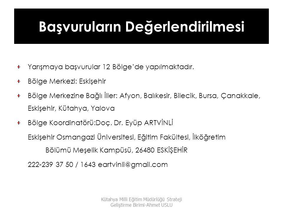 Başvuruların Değerlendirilmesi Yarışmaya başvurular 12 Bölge'de yapılmaktadır. Bölge Merkezi: Eskişehir Bölge Merkezine Bağlı İller: Afyon, Balıkesir,