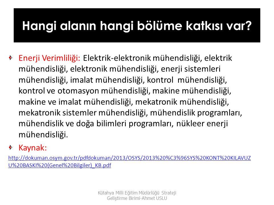 Hangi alanın hangi bölüme katkısı var? Enerji Verimliliği: Elektrik-elektronik mühendisliği, elektrik mühendisliği, elektronik mühendisliği, enerji si