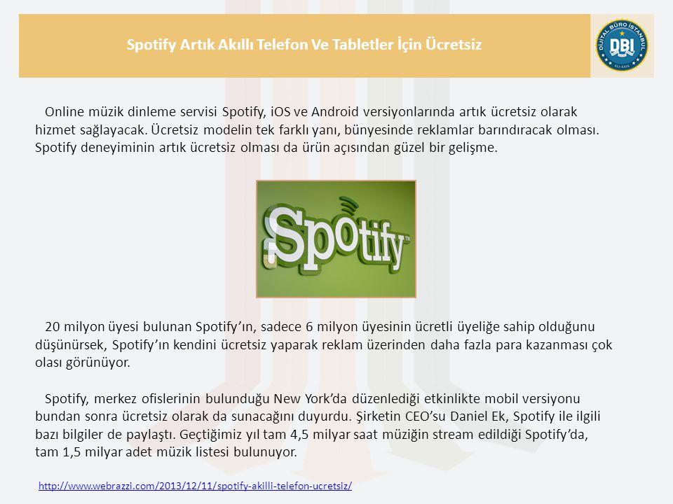 http://www.webrazzi.com/2013/12/11/spotify-akilli-telefon-ucretsiz/ Spotify Artık Akıllı Telefon Ve Tabletler İçin Ücretsiz Online müzik dinleme servisi Spotify, iOS ve Android versiyonlarında artık ücretsiz olarak hizmet sağlayacak.