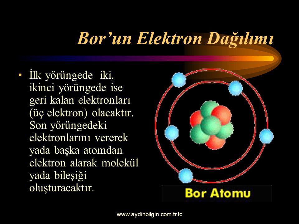 www.aydinbilgin.com.tr.tc Bor Atomunun İncelenmesi Bor atomunun beş tane nötronu ve beştane de protonu vardır. Proton sayısı ile elekton sayısının ayn