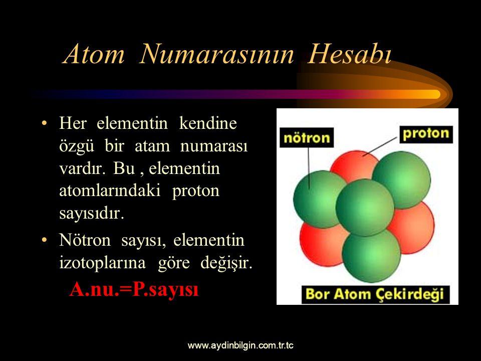 www.aydinbilgin.com.tr.tc Atom Numarasının Hesabı Her elementin kendine özgü bir atam numarası vardır.