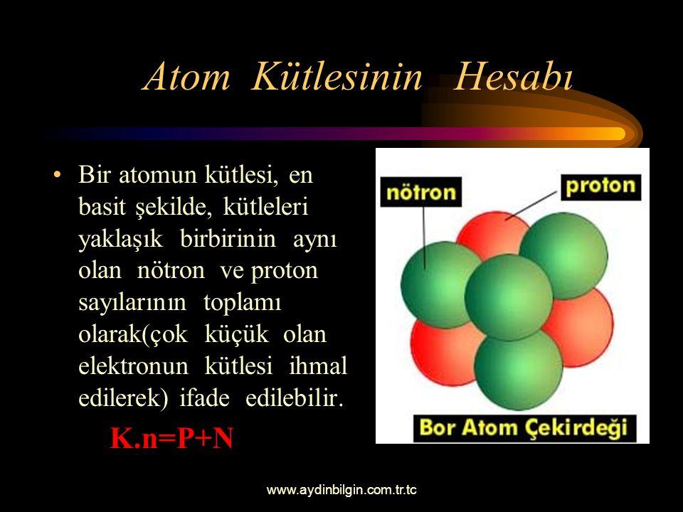 www.aydinbilgin.com.tr.tc Atom Kütlesinin Hesabı Bir atomun kütlesi, en basit şekilde, kütleleri yaklaşık birbirinin aynı olan nötron ve proton sayılarının toplamı olarak(çok küçük olan elektronun kütlesi ihmal edilerek) ifade edilebilir.