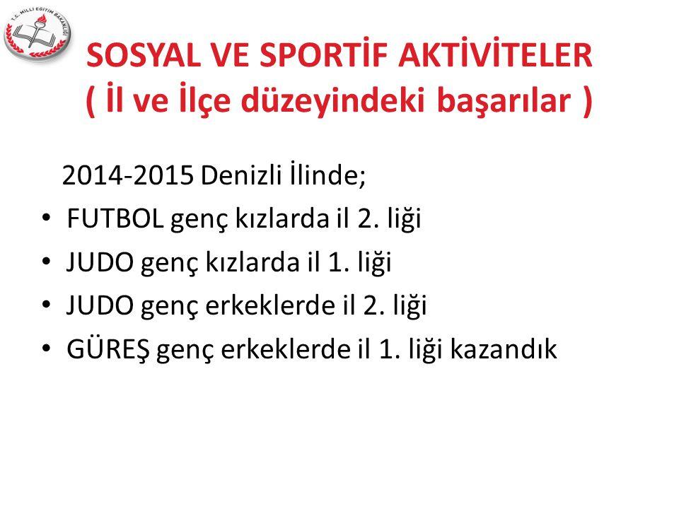 SOSYAL VE SPORTİF AKTİVİTELER ( İl ve İlçe düzeyindeki başarılar ) 2014-2015 Denizli İlinde; FUTBOL genç kızlarda il 2. liği JUDO genç kızlarda il 1.