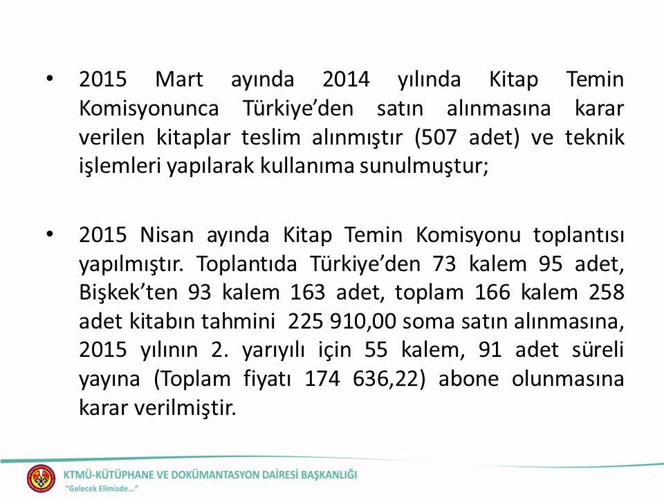 2015 Mart ayında 2014 yılında Kitap Temin Komisyonunca Türkiye'den satın alınmasına karar verilen kitaplar teslim alınmıştır (507 adet) ve teknik işlemleri yapılarak kullanıma sunulmuştur; 2015 Nisan ayında Kitap Temin Komisyonu toplantısı yapılmıştır.