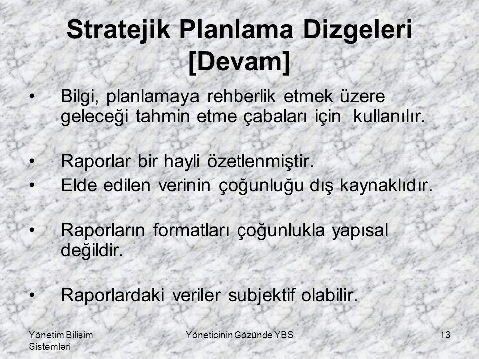 Yönetim Bilişim Sistemleri Yöneticinin Gözünde YBS13 Stratejik Planlama Dizgeleri [Devam] Bilgi, planlamaya rehberlik etmek üzere geleceği tahmin etme çabaları için kullanılır.