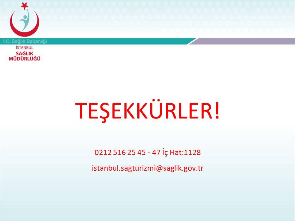 TEŞEKKÜRLER! 0212 516 25 45 - 47 İç Hat:1128 istanbul.sagturizmi@saglik.gov.tr
