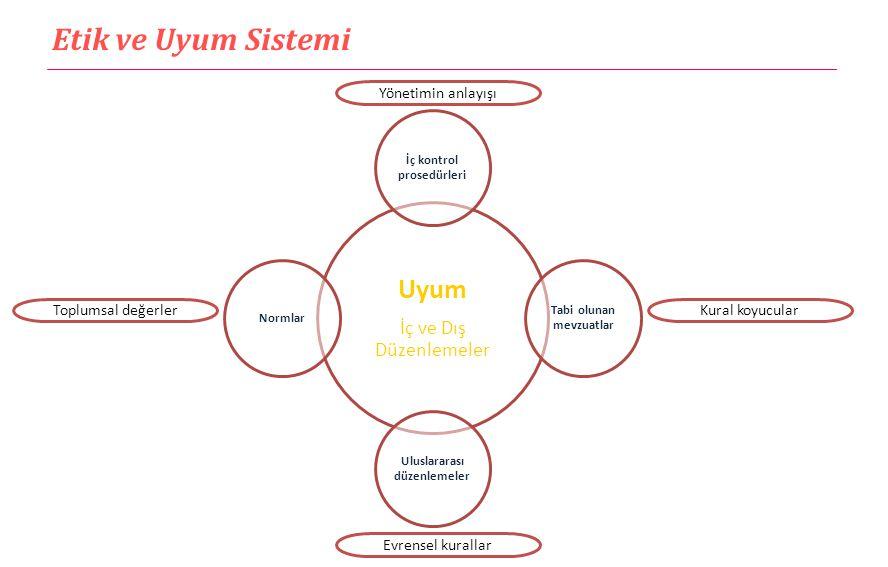 Etik ve Uyum Sistemi Uyum İç ve Dış Düzenlemeler İç kontrol prosedürleri Tabi olunan mevzuatlar Uluslararası düzenlemeler Normlar Yönetimin anlayışı E