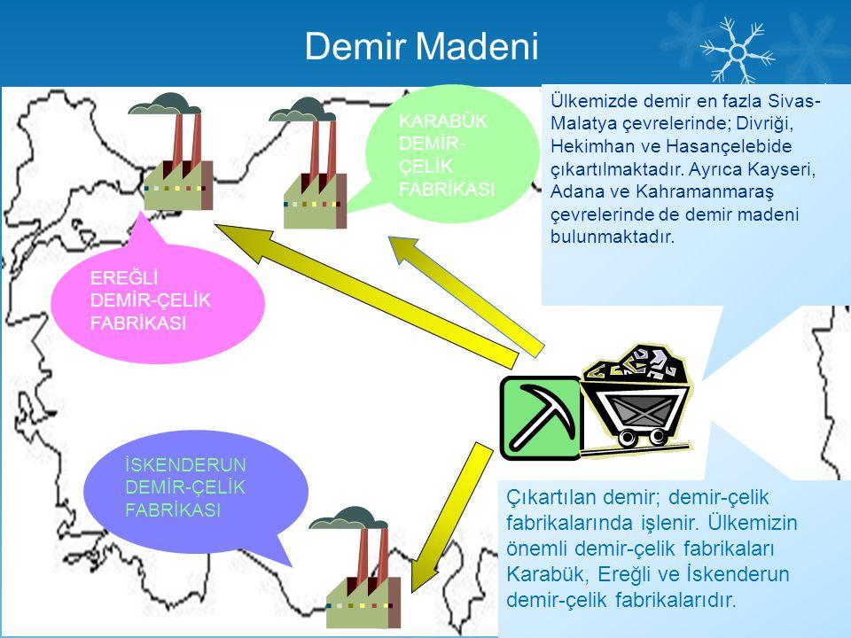 Demir Madeni Ülkemizde demir en fazla Sivas- Malatya çevrelerinde; Divriği, Hekimhan ve Hasançelebide çıkartılmaktadır. Ayrıca Kayseri, Adana ve Kahra