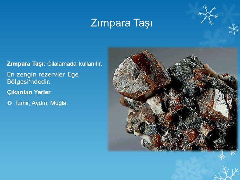 Zımpara Taşı Zımpara Taşı: Cilalamada kullanılır. En zengin rezervler Ege Bölgesi'ndedir. Çıkarılan Yerler  İzmir, Aydın, Muğla.